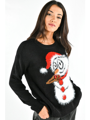 VMFRIENDLYSNOWMAN LS O-NECK BLOUSE NVL
