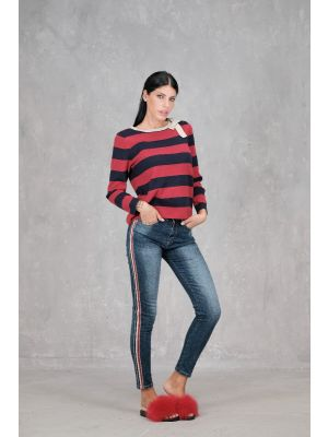 EDGEWATER JEANS BANDA TRICOLOR STRASS