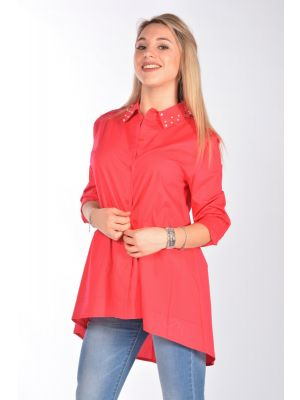CAMICIA ML LUNGA COLLO PERLE